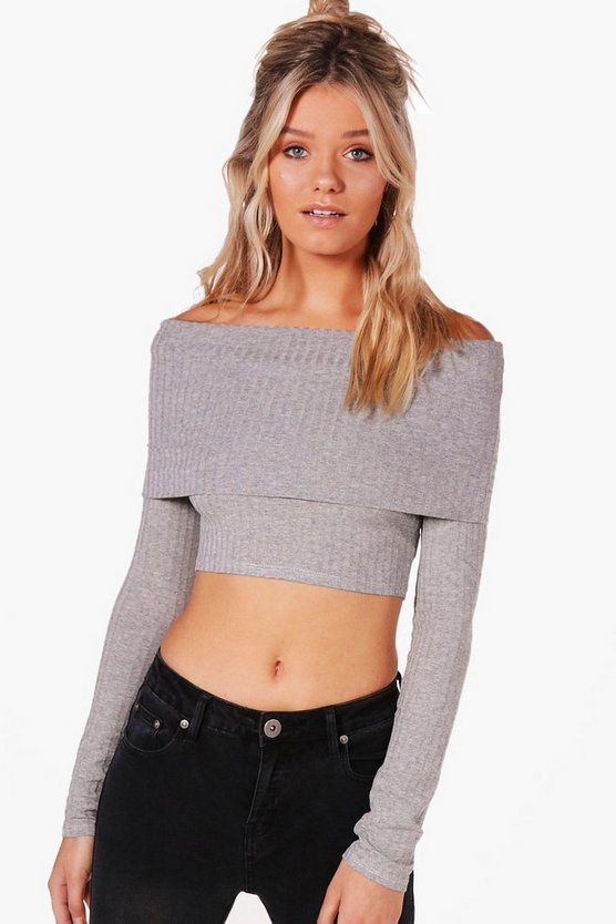 Emma Off The Shoulder Rib Knit Jumper