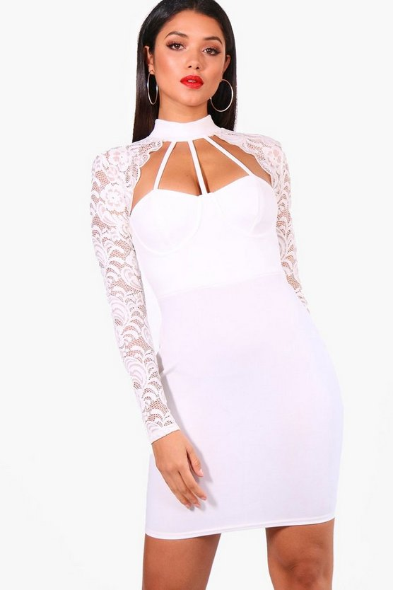Lace Scallop Detail Bodycon Dress