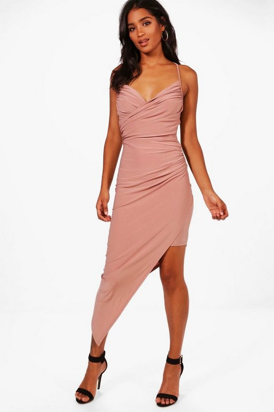 Bai Wrap Asymmetric Bodycon Midi Dress