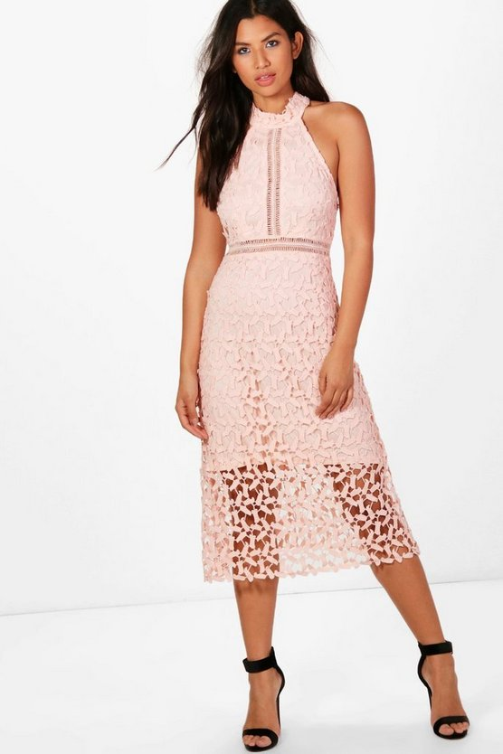 Boutique Lace Panelled Midi Skater Dress