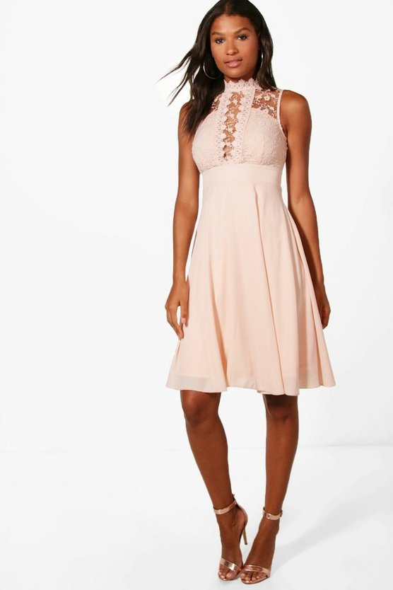 Lace Scallop Top Midi Skater Dress