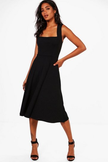Womens Black Square Neck Midi Skater Dress