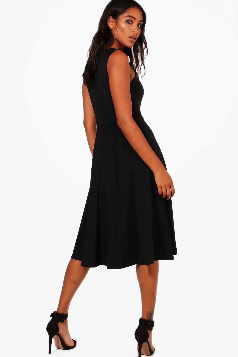 b0b0fe62142f6a Boohoo Womens Square Neck Midi Skater Dress