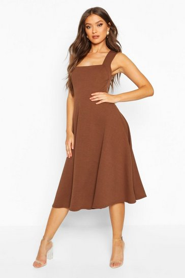 Womens Chocolate Square Neck Midi Skater Dress