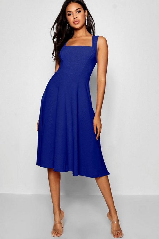 Womens Cobalt Square Neck Midi Skater Dress