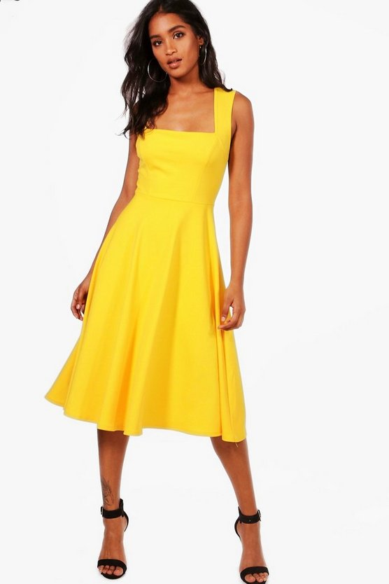 Womens Freesia Square Neck Midi Skater Dress
