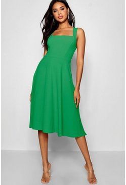 Green Square Neck Midi Skater Dress