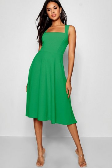 Womens Green Square Neck Midi Skater Dress