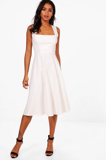 Womens Ivory Square Neck Midi Skater Dress