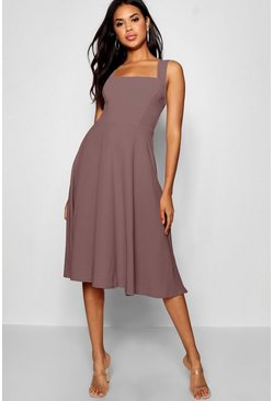 Square Neck Midi Skater Dress, Mauve, Donna