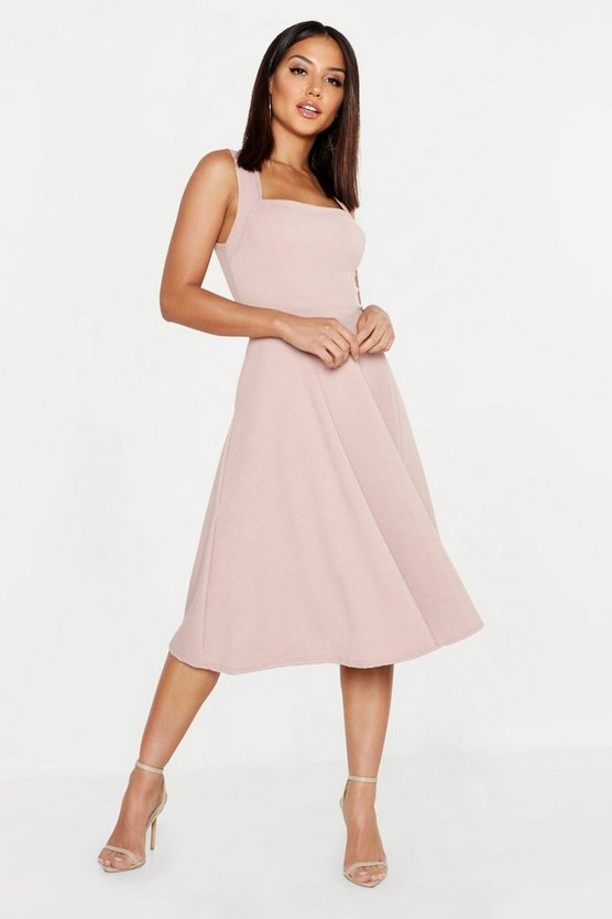 Womens Mink Square Neck Midi Skater Dress