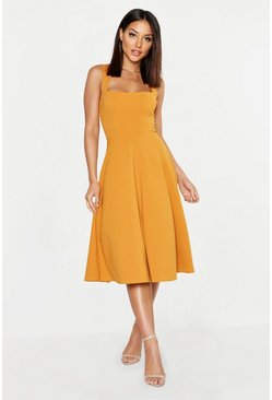 Womens Mustard Square Neck Midi Skater Dress