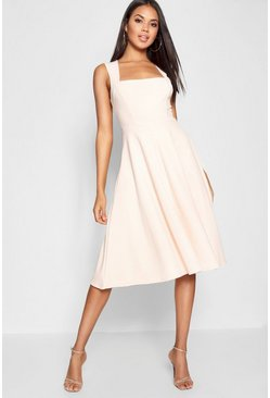 Square Neck Midi Skater Dress, Nude