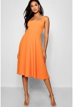 Womens Orange Square Neck Midi Skater Dress