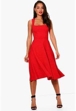 Red Square Neck Midi Skater Dress