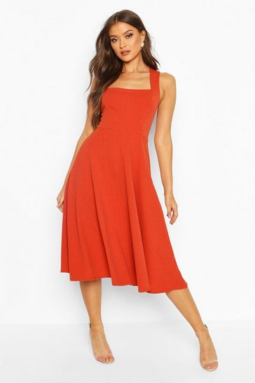 Womens Rust Square Neck Midi Skater Dress