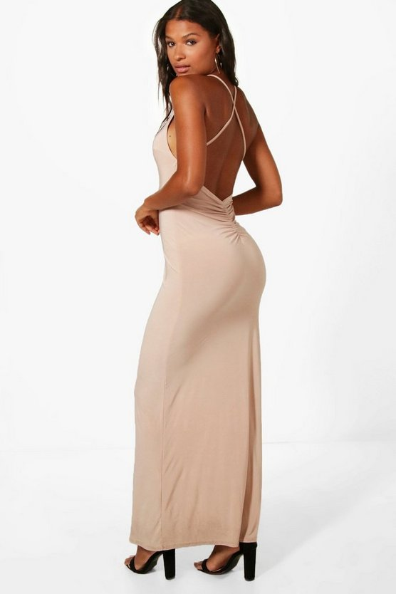 Slinky Open Back Ruched Maxi Dress