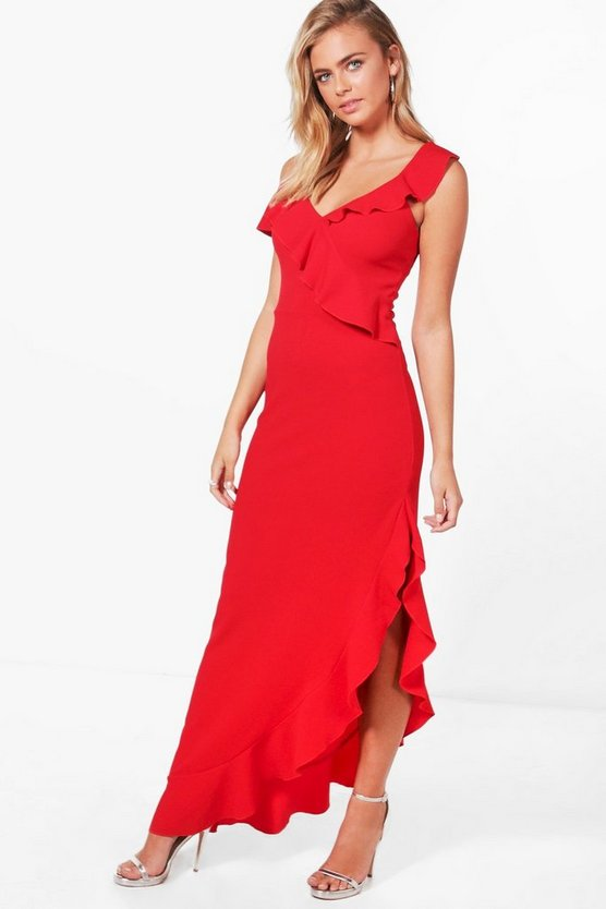 Gia Frill Detail Cold Shoulder Maxi Dress