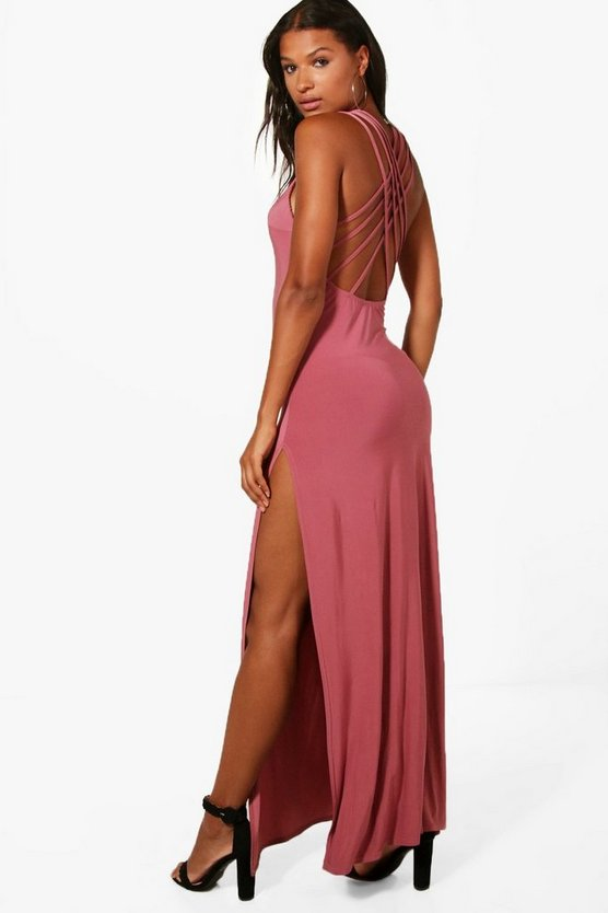 Strappy Back Slinky Maxi Dress