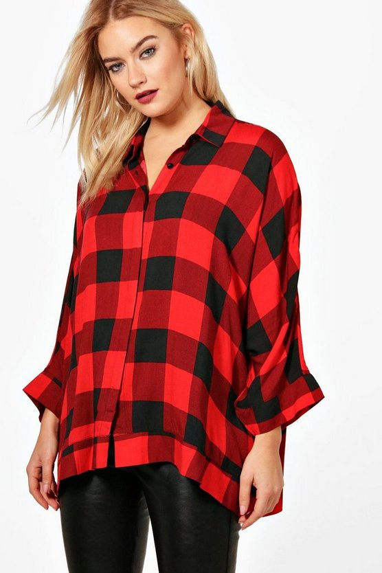 Ella Check Oversized Swing Shirt