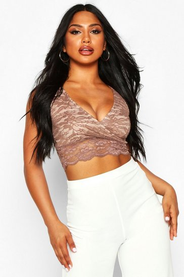 Womens Camel Lace Wrap Front Crop Top