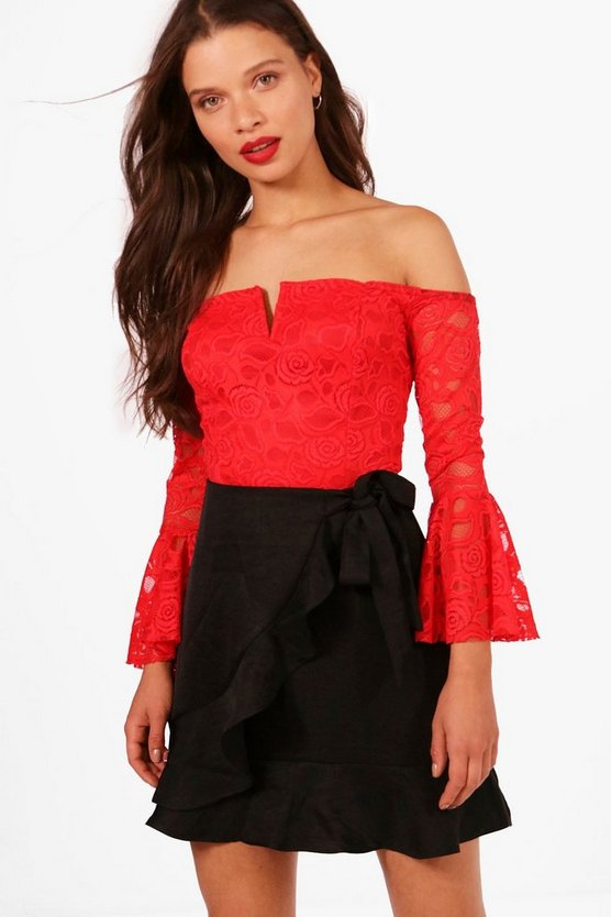 Layla Lace Plunge Flare Sleeve Crop