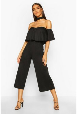 Womens Black Off Shoulder Ruffle Culotte Choker Jumpsuit