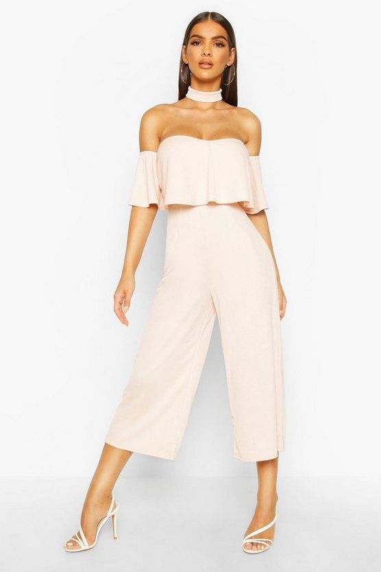 Womens Blush Off Shoulder Ruffle Culotte Choker Jumpsuit