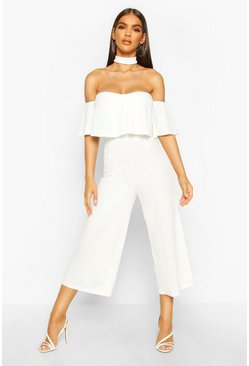 Ivory Off Shoulder Ruffle Culotte Choker Jumpsuit