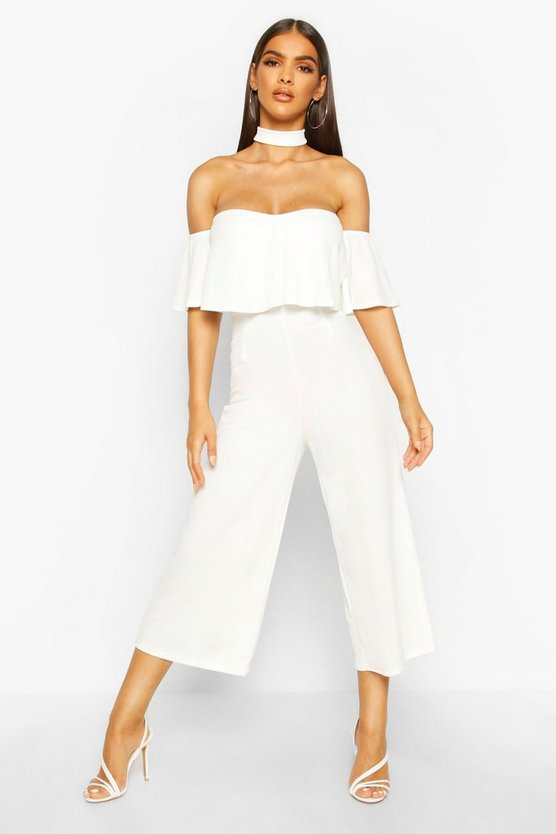 Womens Ivory Off Shoulder Ruffle Culotte Choker Jumpsuit
