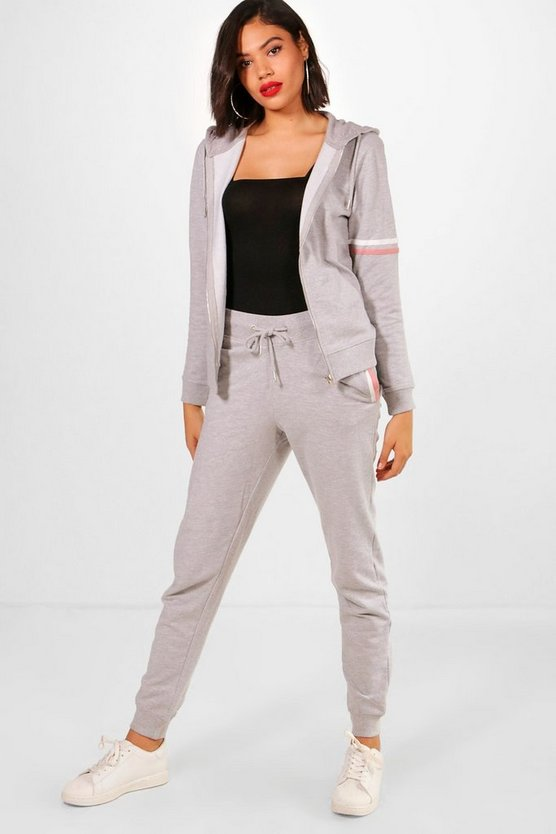Womens Grey Athleisure Zip Detail Tracksuit