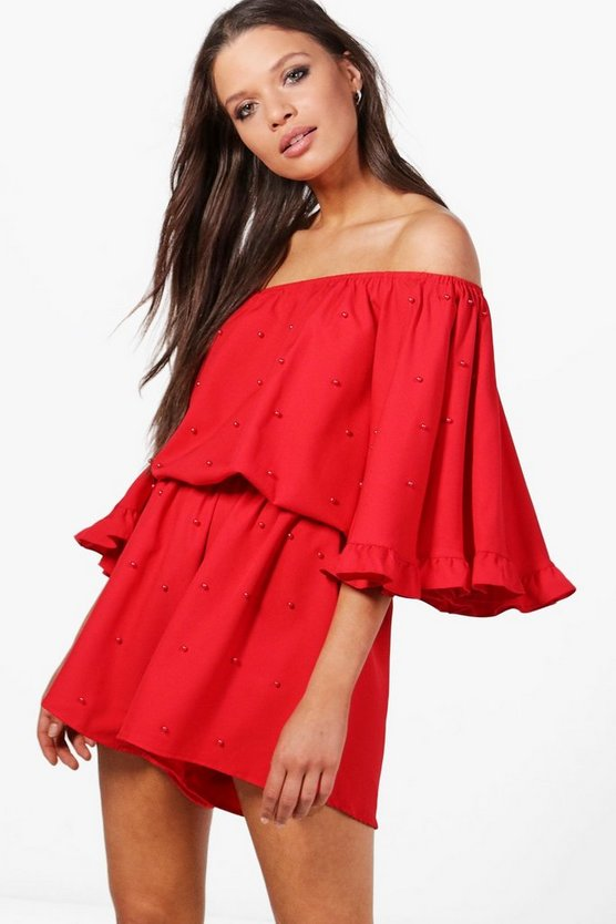 Off the Shoulder Pearl Embellished Playsuit
