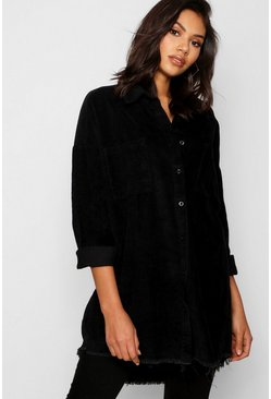 Black Raw Edge Oversized Cord Shirt