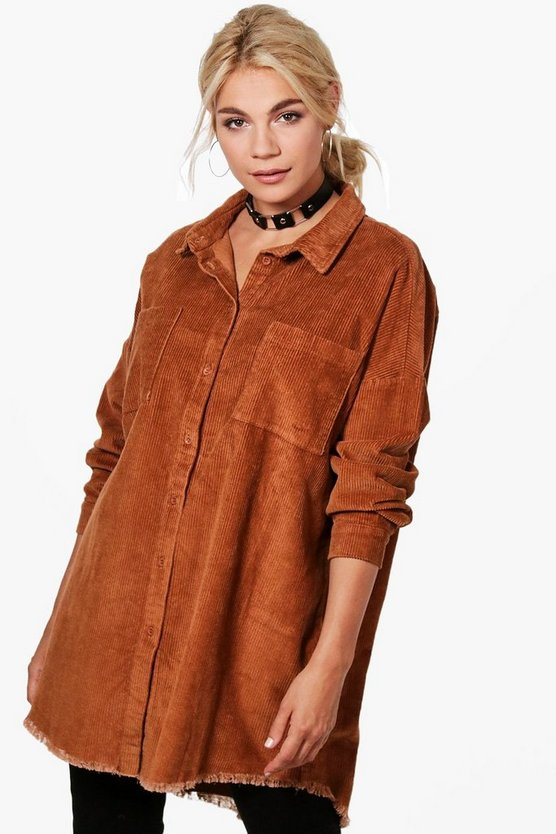 Womens Camel Raw Edge Oversized Cord Shirt