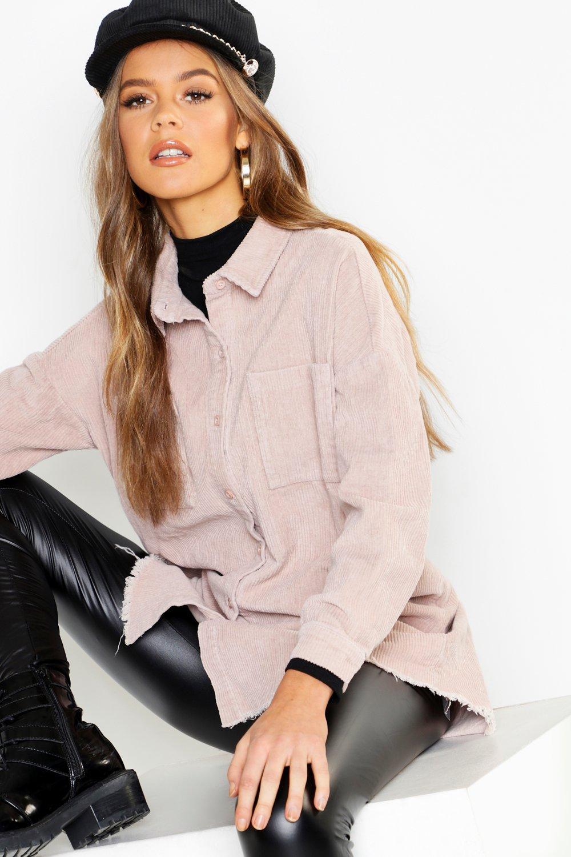 womens raw edge oversized cord shirt - cream - 2