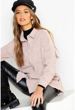Womens Ecru Raw Edge Oversized Cord Shirt