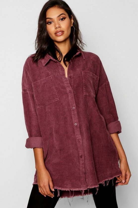 Raw Edge Oversized Cord Shirt