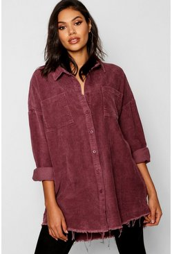 Womens Mauve Raw Edge Oversized Cord Shirt