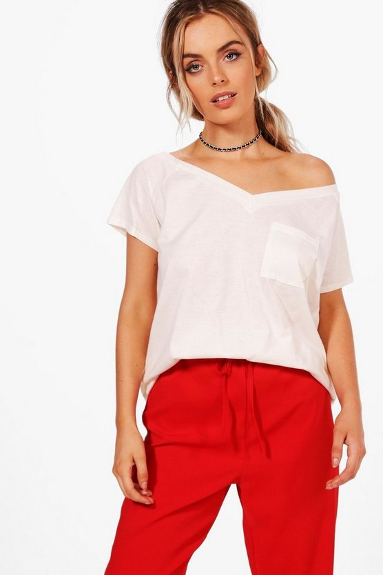Basic V Neck Off The Shoulder Pocket Tee