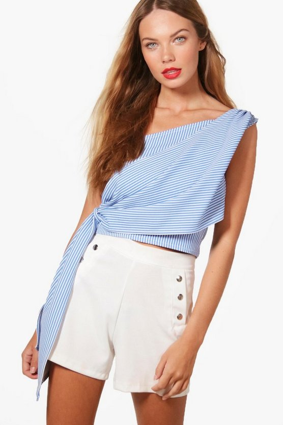 Georgie One Shoulder Stripe Tie Crop