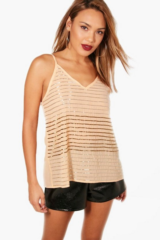 Embellished Stripe Sequin Cami
