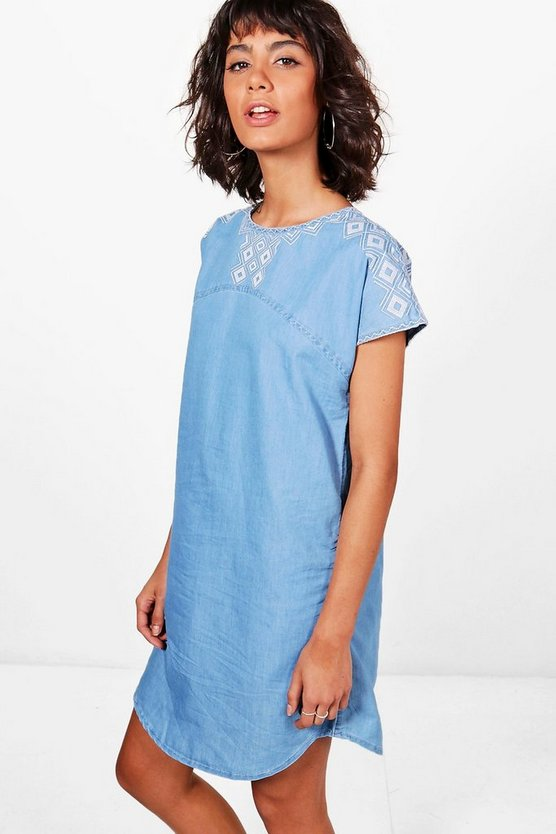 Tanya Aztec Embroidered Denim Shirt Dress