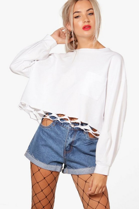 Cut Out Pocket Denim Shorts