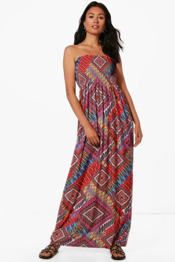 Multi Print Shirred Maxi Dress
