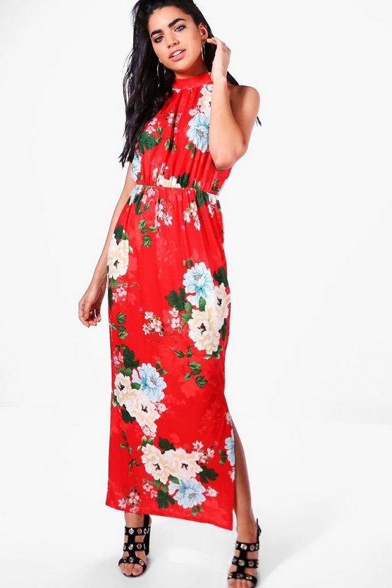 Natalie Floral High Neck Split Front Maxi Dress