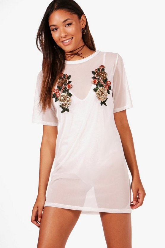 Anna Sequin Floral Mesh T-Shirt Dress