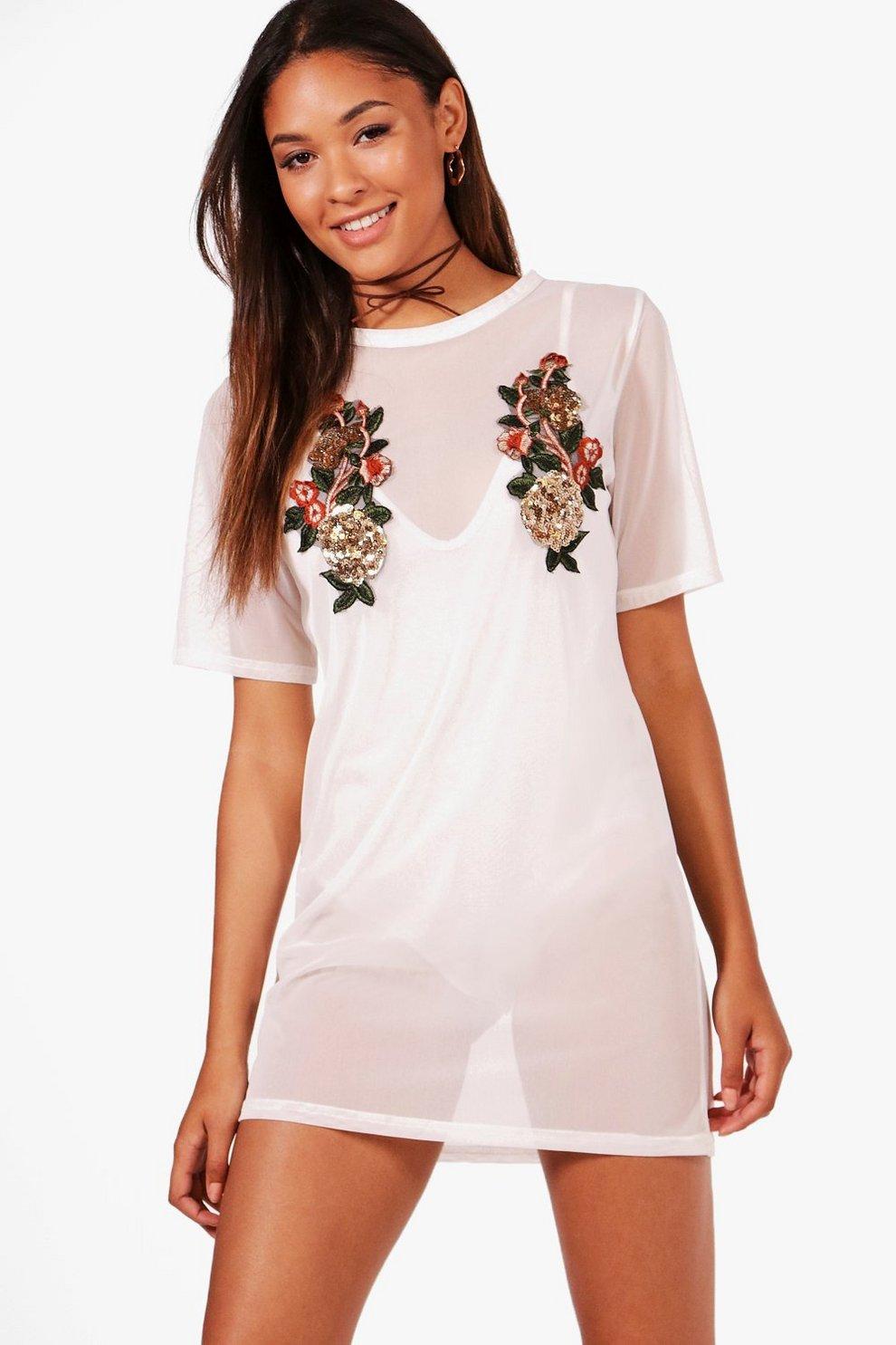 787ef0947f2e Anna Sequin Floral Mesh T-Shirt Dress