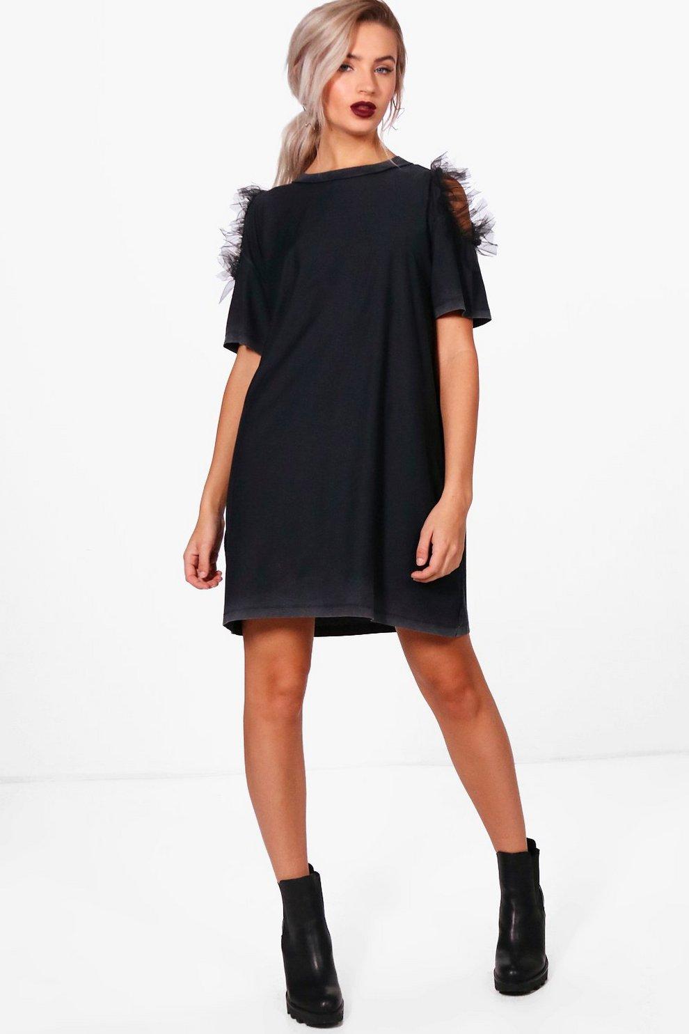 49a5451035b Kath Cold Shoulder Mesh Ruffle T-Shirt Dress | Boohoo