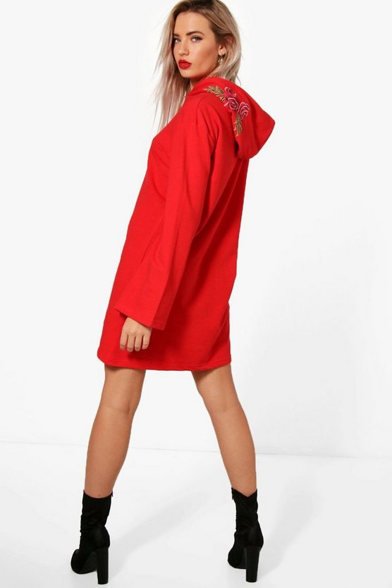 Embroidered Hooded Wide Sleeve Sweat Dress