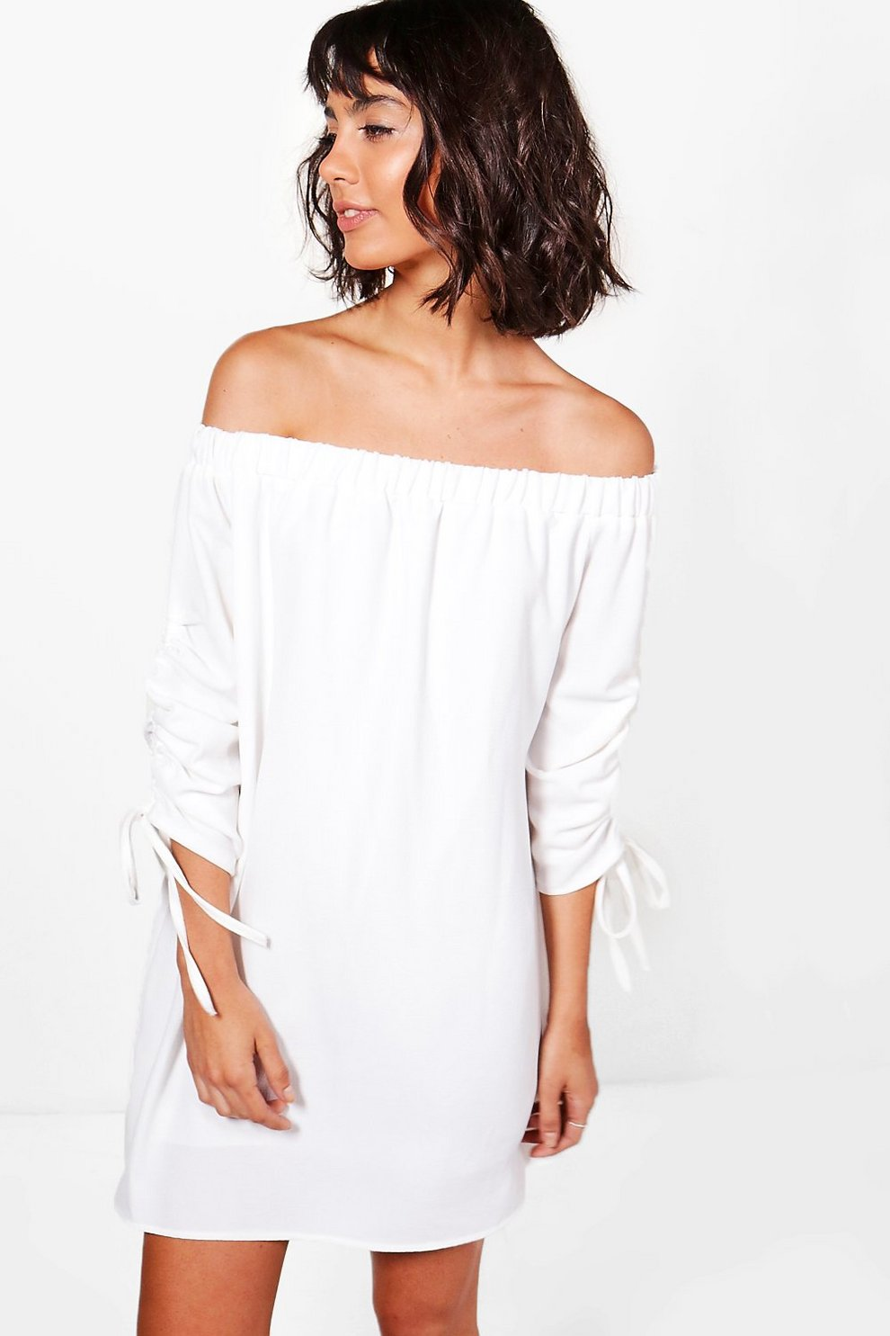 3afe7ad997 Womens White Ruched Sleeve Off Shoulder Dress